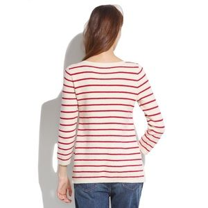 Madewell Sweaters - [Madewell] White Striped Seaside Side-Zip Sweater